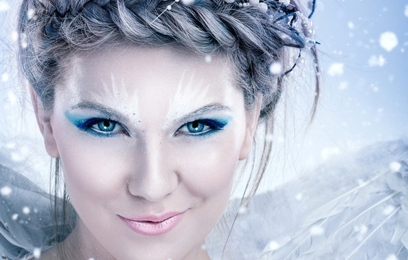 Picture eyes, girl, snowflakes, face, makeup, hairstyle