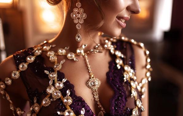 Picture girl, decoration, style, earrings, Max Kuzin, Kristina Zolotareva