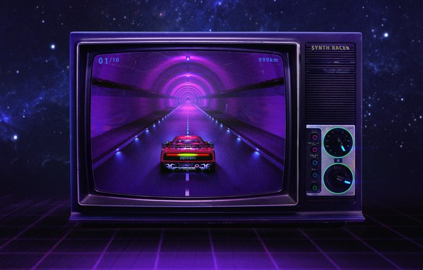 Picture Music, Style, Background, Ferrari, 80s, Style, Neon, Illustration, 80's, Synth, Retrowave, Synthwave, New Retro Wave, …