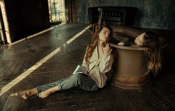 Picture bath, book, two girls, Juliana Naidenova