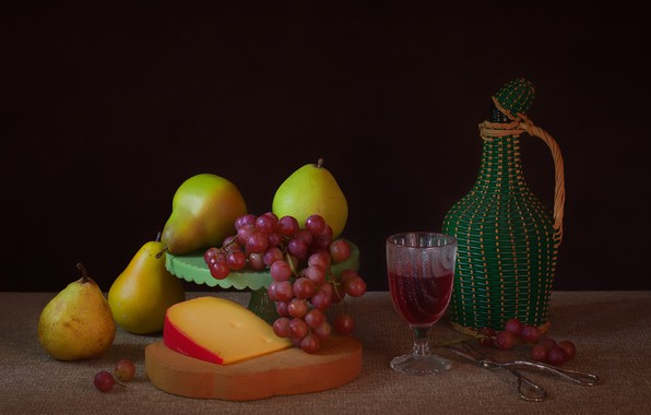 Photo wallpaper cheese, grapes, still life