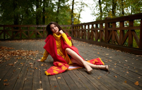 Picture autumn, leaves, girl, pose, coat, terrace, Andrey Kozlov