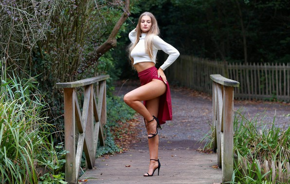 Picture sexy, pose, skirt, beauty, the bridge, Sophie, beautiful legs