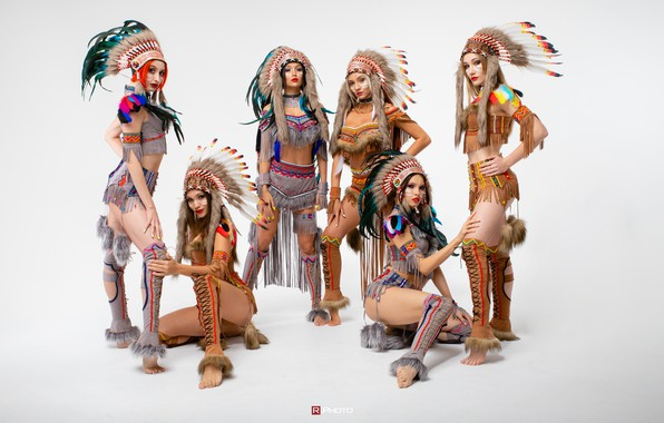 Picture girls, light background, costumes, poses, Vitaly Rychkov