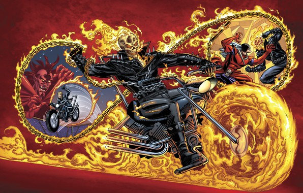 Picture fire, Ghost Rider, bike, art, Marvel, chains, Mephisto, by Benny Fuentes