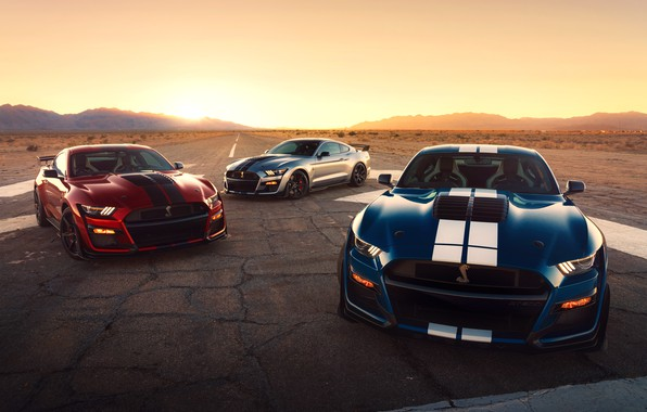 Picture road, the sun, machine, lights, Ford, sports, sports car, wheel, Ford Mustang Shelby GT500, 2020