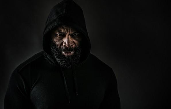 Picture look, hood, black background, muscle, pose, bodybuilder, CT Fletcher, bodybuilder, Plush beard, City Fletcher