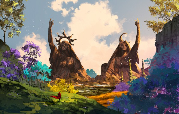 Picture colorful, sword, fantasy, sky, trees, weapon, crown, clouds, man, artist, digital art, artwork, giant, environment, …