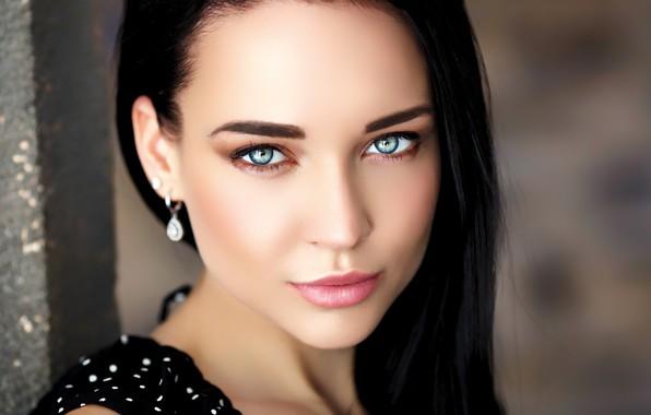 Picture girl, long hair, photo, blue eyes, model, lips, brunette, black hair, portrait, mouth, close up, …