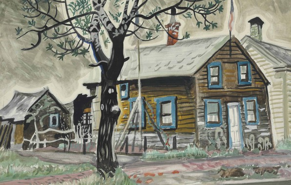 Picture house, tree, 1917, Charles Ephraim Burchfield, Patriot's House