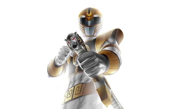 Picture sword, armor, white tiger, Power Rangers, Saba, white ranger, Tommy Oliver