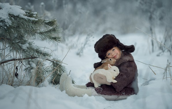 Picture winter, snow, hat, girl, rabbits, hat, friends, coat, boots