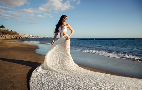 Picture sea, beach, swimsuit, girl, pose, the ocean, coast, matter, train, figure, glasses, fabric, Ilya Tkachev