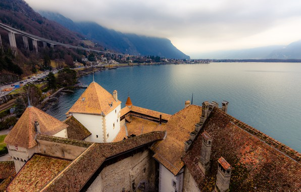 Picture clouds, mountains, lake, castle, Switzerland, panorama, the view from the top, Lake Geneva, Chillon Castle, …