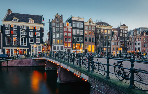 Picture bridge, building, home, Amsterdam, channel, Netherlands, Amsterdam, bikes, Netherlands, Singel Canal, The Singel Canal
