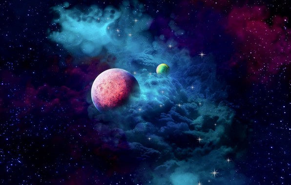 Picture space, nebula, cloud, planets, galaxy, 2k hd widescreen background