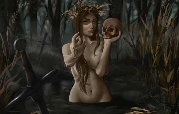 Picture skull, swamp, claws, trap, swords, demoness, evil, lures, damn place, drowned, by Vulpes94