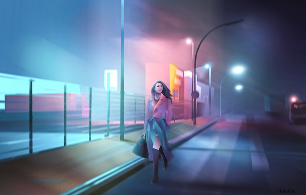 Picture city, girl, alone, cyberpunk, painting, digital art, illustration, backgroud, dawn of darkness, purple colors, neon …