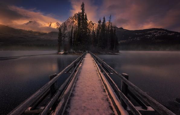 Picture snow, mountains, bridge, island