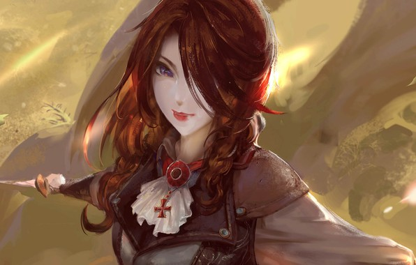Picture Girl, fantasy, weapon, blue eyes, redhead, artwork, fantasy art, dagger, fantasy girl