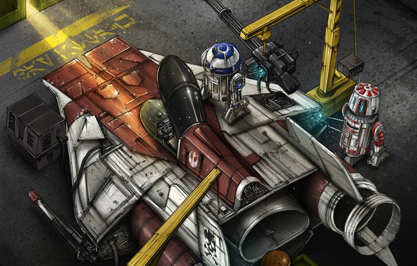 Picture Figure, Fighter, Star Wars, R2D2, Art, Star Wars, Illustration, R2-D2, Comic Art, Droids, The droids, ...