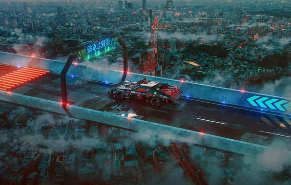 Picture car, city, Art, Future