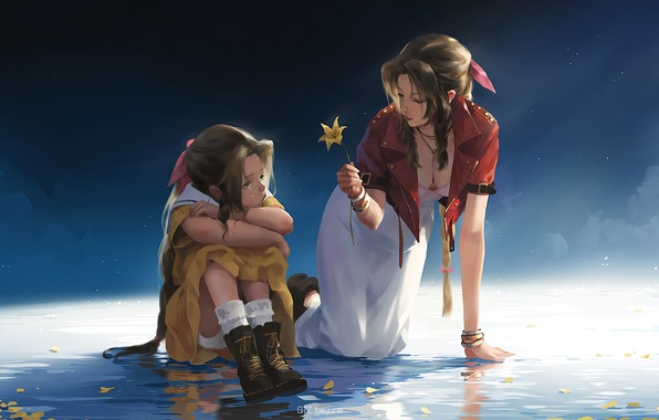 Picture fantasy, game, Final Fantasy 7, flower, girls, water, leaves, tears, artist, digital art, artwork, fantasy …