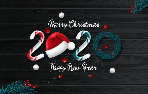 Picture photo, New year, 2020, Caps, Vector graphics, Lollipops
