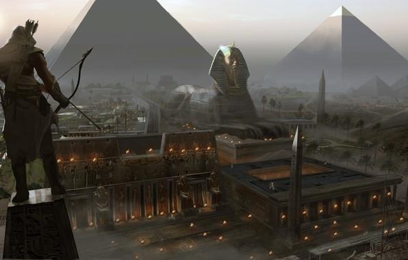 Picture computer game, Assassin's Creed Origins, Eddie Bennun, The Giza Plateau