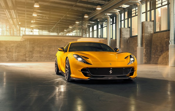 Picture machine, light, yellow, lights, hangar, Ferrari, drives, stylish, sports, Superfast, 812, by Novitec
