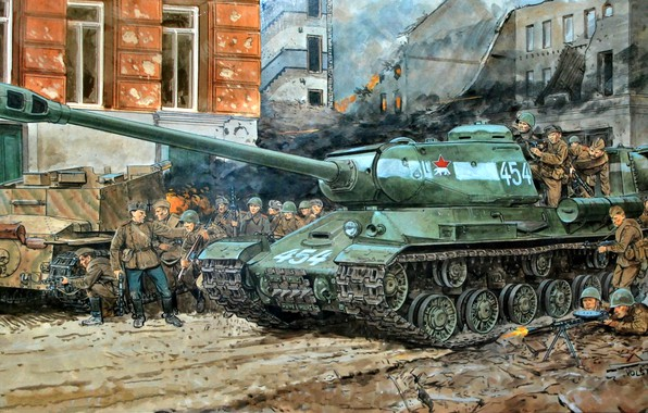Picture art, Soldiers, USSR, Tank, The is-2, The great Patriotic war, Heavy, The Red Army, WWII, …