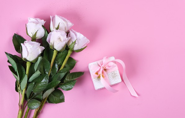 Picture background, pink, birthday, gift, bouquet, tape