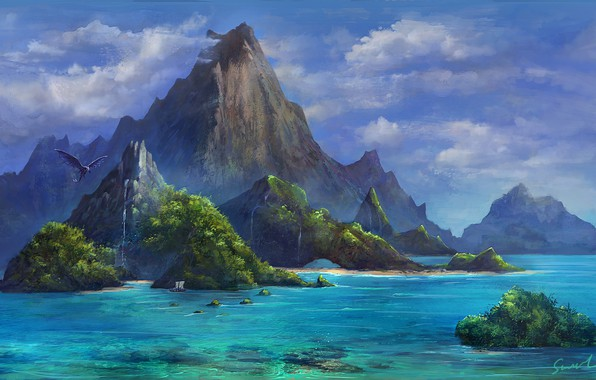 Picture Paradise, The ocean, Sea, Mountains, Dragon, Rocks, Ship, Dragon, Fiction, Mountains, Ocean, Sea, Rocks, Ship, …