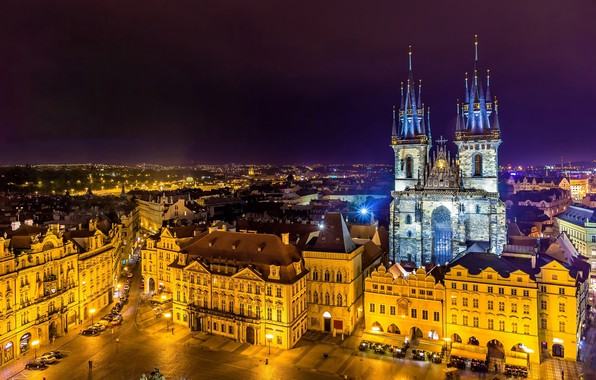 Picture night, lights, building, home, Prague, Czech Republic, area, lights, tower, temple, the view from the …