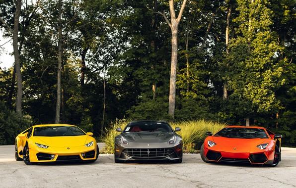 Picture Lamborghini, Ferrari, Orange, Yellow, Aventador, Gray, Berlinetta, F12, VAG, Huracan