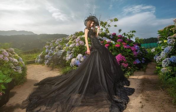 Picture flowers, pose, style, Park, model, hat, garden, dress, Asian, the bushes, hydrangea