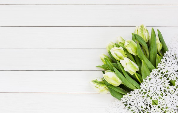 Picture flowers, bouquet, tulips, white, white, lace, wood, flowers, beautiful, romantic, tulips, spring