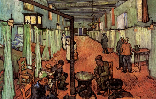 Picture people, pipe, stove, Vincent van Gogh, Ward in the, Hospital in Arles