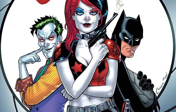 Picture gun, fantasy, Batman, weapon, Joker, comics, artwork, mask, superheroes, DC Comics, Harley Quinn, cape