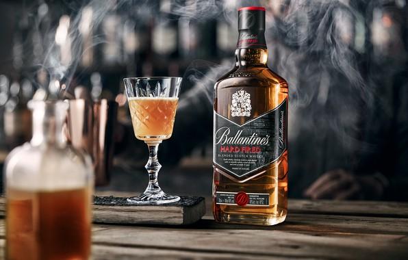 Picture smoke, glass, alcohol, drink, whiskey, smoke, Whiskey, Ballantine's