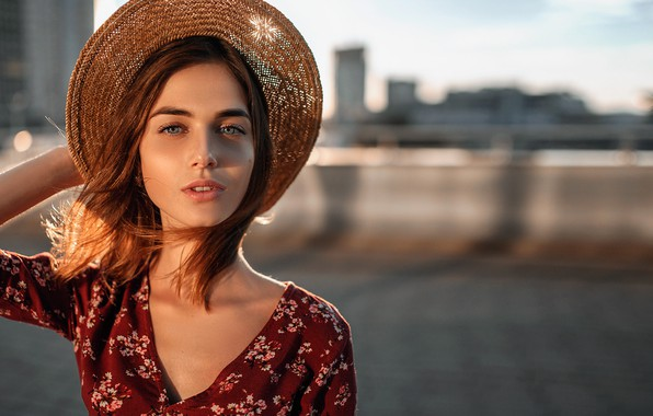 Picture look, the sun, the city, pose, background, model, portrait, hat, makeup, dress, hairstyle, brown hair, …