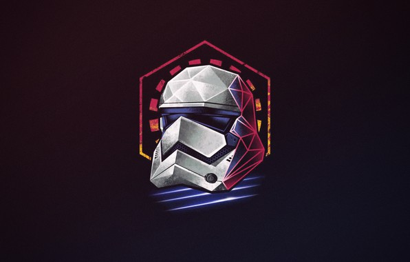 Picture Minimalism, Figure, Star Wars, Background, Art, Art, Neon, Stormtrooper, 80's, Synth, Retrowave, Synthwave, by Vincenttrinidad, ...