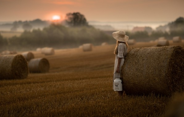 Picture sunset, fog, hay, girl