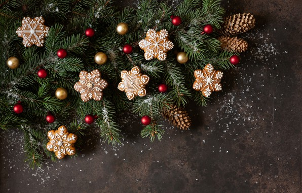 Picture decoration, New Year, cookies, Christmas, christmas, wood, merry, cookies, decoration, gingerbread, gingerbread, fir tree, fir-tree …