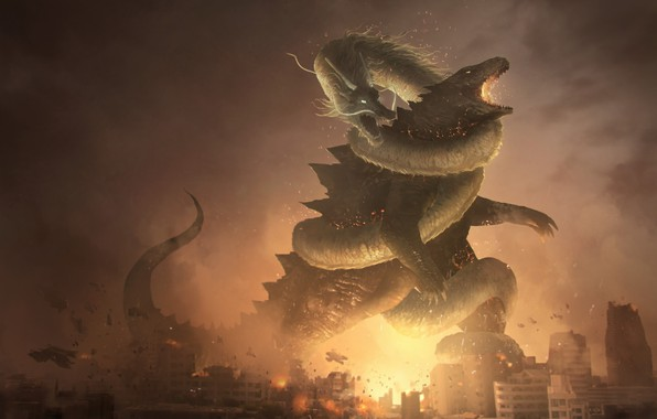 Picture Figure, The city, Dragon, Fire, Battle, Destruction, Dragon, Godzilla, Art, Godzilla, Fantasy, by Franklin Chan, ...