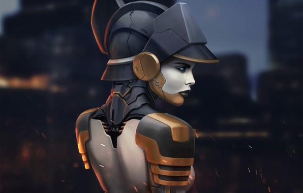Picture look, girl, back, art, profile, cyberpunk, fantastic.