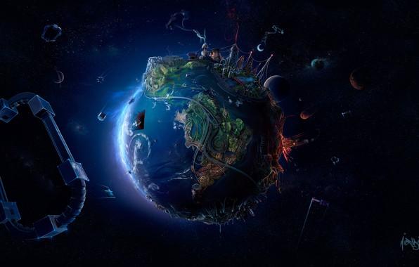 Picture space, creative, graphics, planet, stars, art, Earth, Earth, render, 3D Graphics, David Fuhrer