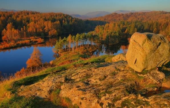 Picture autumn, mountains, stones, slope, boulders, Golden autumn