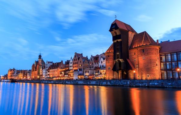 Picture Home, The evening, Promenade, Lights, Poland, Poland, Gdansk, Gdansk, Port crane, The River Motława, Crane, …