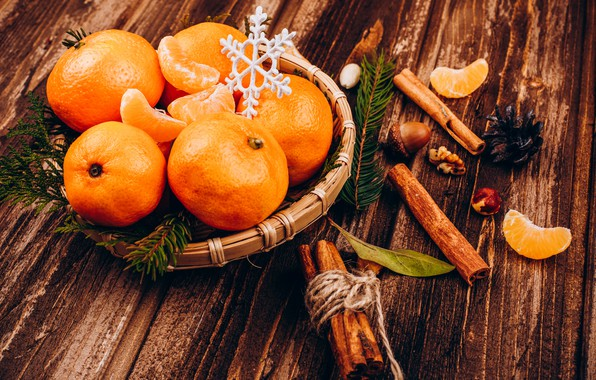 Picture decoration, New Year, Christmas, Christmas, wood, New Year, tangerines, decoration, Merry